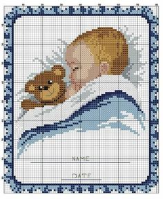 Baby napping with bear x-stitch Baby Cross Stitch Patterns, Cross Stitch Baby, Cross Stitch Charts, Cross Stitch Designs, Baby Patterns, Cross Stitching, Cross Stitch Embroidery, Embroidery Patterns, Crochet Cross
