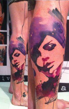 Amazing female water color portrait tattoo