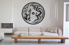 Wall Vinyl Sticker Decals Mural Room Design Pattern Art Mandala Asia Bird Dragon 193 by StickerLoveDecal on Etsy