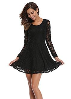 9724e2767ea39 New MISS MOLY Women s Scoop Neck Semi Sheer Long Sleeves Floral Lace Mini  Skater Dress online. Find the perfect CowCow Dresses from top store.