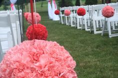 #Wedding #flowers Aisle flowers: kissing balls also known as #Pomanders of carnations flowers by Carol Lynn Originals & Events