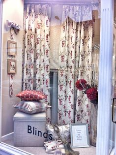 We are admiring this beautiful window displays by The Fabric Place in Orpington, featuring our Pemberley embroideries in the rich cranberry perfect for the autumn season... www.prestigious.co.uk/collections/pemberley