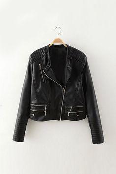 Biker Jacket with Padded Shoulder - US$49.95 -YOINS