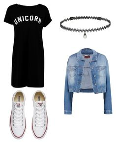 """""""Duuh"""" by olecrav ❤ liked on Polyvore featuring Boohoo, 7 For All Mankind, Converse and BERRICLE"""