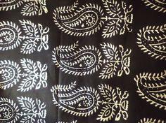 Indian Cotton Fabric- White Block print on Black Cotton