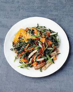 Lower Excess Fat Rooster Recipes That Basically Prime Shaved Carrot Salad With Baked Tofu Martha Stewart Living - Tamari-Flavored Baked Tofu Adds Heft To A Deliciously Simple Kale And Carrot Salad. Cut Scallions Add An Extra Note Of Brightness. Tofu Recipes, Detox Recipes, Salad Recipes, Vegetarian Recipes, Dinner Recipes, Healthy Recipes, Healthy Salads, Healthy Food, Yummy Pasta Recipes