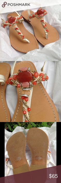 Ivanka Trump Sandals 💎Embellished  with Crystals Ivanka Trump Sandals - adorned with Crystals , Coral accents and gold beads 🍸🍸Treat yourself 🍧🍭🍬These are all about you ! Bling 💎for your feet ! They are as comfy as they are elegant 💘💍Cute buckle strap ! Ivanka Trump Shoes Sandals