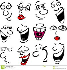 Illustration about Cartoon faces and emotions for humor or comics design. Illustration of background, cartoon, illustration - 24611536 Cartoon Faces Expressions, Drawing Cartoon Faces, Cartoon Eyes, Cartoon Bodies, Cartoon People, Facial Expressions, Emoticon, Rock Painting Designs, Rock Crafts
