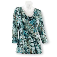 Draped Neck Printed Top - Women's Clothing – Casual, Comfortable & Colorful Styles – Plus Sizes