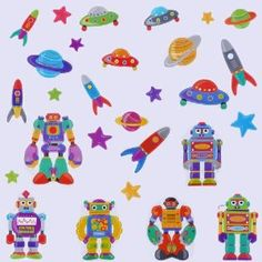 Space Rockets and Robots Boys Bedroom Nursery Wall Stickers: Amazon.co.uk: Baby