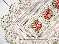 Tapete Retangular - Flor Catavento - barbantepontocom