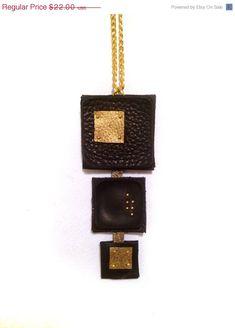 40% OFF Sale Geometric leather pendant Stylish black от julishland