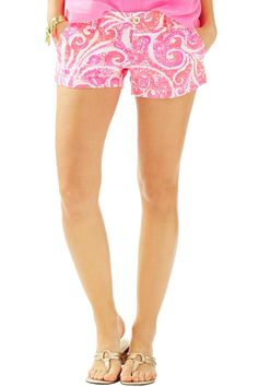 """These shorts feature a zip fly, with center front button closure, slant front pockets and back welt pockets. Add a pop of print to these spring shorts and you're out the door.    Measurements:3"""" Inseam       Printed Shorts  by Lilly Pulitzer. Clothing - Shorts Sandestin Golf and Beach Resort, Florida"""