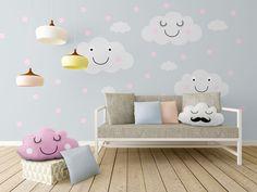 Naklejki ścienne CHMURKI + kropki różowe 240x125 - Mietowy_Kot - Wystrój pokoju dziecięcego