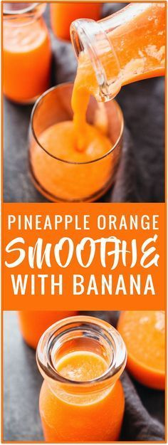 pineapple smoothie with banana. This pineapple smoothie is made using carrots and fresh fruit such as chopped pineapples and bananas.