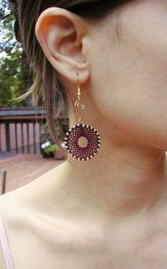 Items similar to Bobbin Lace Burgundy Earrings with Golden Seed Beads on Etsy Tatting Jewelry, Lace Jewelry, Crochet Earrings Pattern, Bobbin Lacemaking, Crochet Motifs, Lace Earrings, Point Lace, Needle Lace, Lace Embroidery