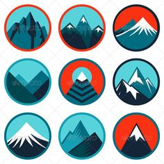 Vector Set with Abstract Logos - Mountains - Nature Conceptual