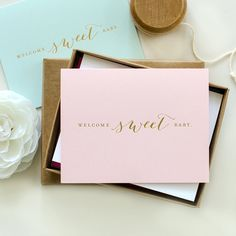 Letterpress Baby Gold Foil Greeting Card - Welcome Sweet Baby (Pale Pink, Light Blue or White)
