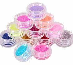CHIC*MALL 12 Color Metal Glitter Nail Art Tool Kit Acrylic UV Powder Dust gem Stamper 1003