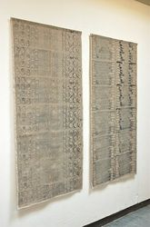 Hand printed Linen Size approx W78 x L155cm © Louise Renae Anderson 2012.