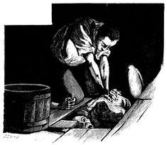 The Tell-Tale Heart (1912) by Martin van Maële, engraved by Eugène Dété.
