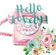 Pretty rose pink retro telephone with brush lettering by Studio Rofino via artinmotion.com