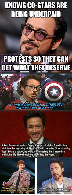 Funny pictures about Reasons Robert Downey Jr. is awesome. Oh, and cool pics about Reasons Robert Downey Jr. is awesome. Also, Reasons Robert Downey Jr. is awesome. Marvel Funny, Marvel Memes, Marvel Avengers, Marvel Comics, Robert Downey Jr., Fangirl, Iron Man Tony Stark, Marvel Actors, Downey Junior