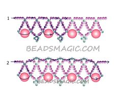 Free pattern for beaded necklace Strawberry Candy | Beads Magic