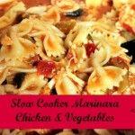 Marinara Chicken & Vegetables Recipe for the Crockpot - celery, green pepper, zucchini, tomato & chiles can + spaghetti sauce; add pasta later