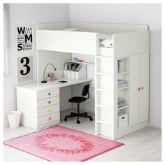 IKEA STUVA/FÖLJA Loft bed combo w 4 doors White cm With this loft bed you get a complete solution for your child's room – including . Modern Bunk Beds, Modern Loft, Loft Beds, Stuva Loft Bed, Ikea Loft, Bed For Girls Room, Bunk Bed With Desk, Bed With Desk Under, Bunk Bed Desk