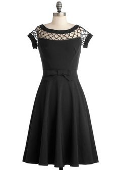 With Only a Wink Dress in Black by Tatyana - Black, LBD, Variation, Solid, Bows, Cutout, Prom, Wedding, Party, Cocktail, Bridesmaid, Pinup, ...