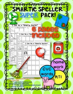 Smartie Speller SUPER Pack. (6 pages) CVC WORDS. Great for homework, morning work and remediation groups!! $