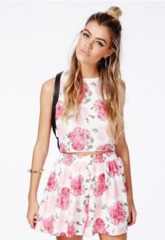 Evangeline Floral Print Floaty Shorts - Shorts - Missguided