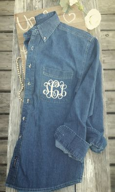Bridesmaid Monogram Denim Shirt ~ Bridesmaid Chambray Monogram Shirt ~ Bridesmaid Button Down ~ Bride Getting Ready Shirt by SouthernTLC on Etsy