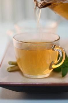 Ginger Tea for Sore Throat  4 C water, 2 T honey, 2 slices of lemon, ¼ C fresh ginger root.  Boil water, cut a piece of ginger root 2'' long and 1'' wide. Peel and cut into small pieces.  Add  to boiling water and simmer 15 minutes.  Add lemon juice and strain, saving the ginger, then add honey and stir till dissolved. Keep lemon in the tea for 4-5 minutes then strain. Drink while still warm.