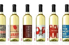 Graphic wine labels add decoration to your table or bar.