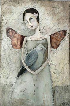Misty Mawn - a nice bit of altered art. Kunstjournal Inspiration, Art Journal Inspiration, Art And Illustration, Figurative Kunst, Arte Popular, Angel Art, Whimsical Art, Medium Art, Oeuvre D'art