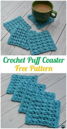 Crochet Puff Coasters FreePattern- #Crochet; Coasters Free Patterns