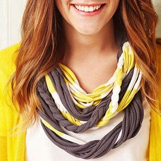 Infinity Necklace Ready to move away from the scarf trend? Update your look with a drapey necklace constructed from rounds of twisted and braided T-shirt yarn, opposite.