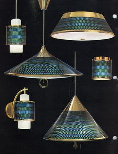 Vintage Moe honeycomb lighting - Really like the green and blue. A pull down light would be cool over the dining room table!