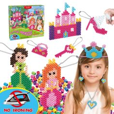 Kids DIY Water Fuse Non Iron Super Beads Girls Arts and Crafts Toy Set. Girls Indoor Activity Fun Project Little Princess Crafts Kit for Girls. Birthday Gift Age 4 5 6 7 8 9 Year Old Girl Perler Beads Diy For Girls, Diy Crafts For Kids, Kids Diy, Arts And Crafts Kits, Craft Kits, Halloween Crafts To Sell, Sleepover Crafts, Fun Craft, Craft Ideas