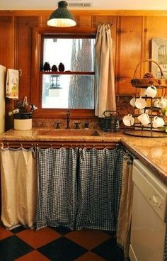 32 Ideas Unique Kitchen Cabinet Curtain Ideas To Hide Your Clutter, For curtains you first have to decide what kind of curtains you wish to put on your windows. Needless to say, there are a number of things you need to. Open Kitchen Cabinets, Diy Cabinets, Kitchen Cabinet Design, Kitchen Sink, Diy Curtains, Kitchen Curtains, Rustic Kitchen, Kitchen Decor, Kitchen Ideas