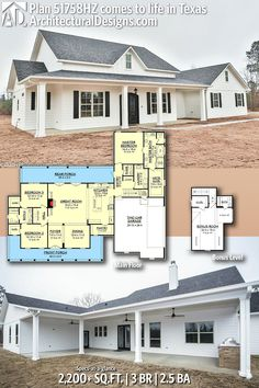 Architectural Designs Modern Farmhouse Plan 51758HZ client-built in Texas. 3BR | 2BA | 2,200SQ.FT. *Build on crawl space, *extend MBR 10', closet opposite side of MBath *larger laundry, 1/2 bth further for master