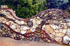 """A Van Gogh Tree and Storm"" stone wall - by Pierson Masonry Pebble Mosaic, Stone Mosaic, Brick And Stone, Stone Art, Stone Walls, Faux Stone, Landscape Design, Garden Design, Masonry Work"