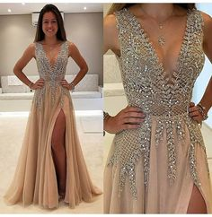 Simple Prom Dresses, charming prom dress beaded prom dress fashion prom dress sexy party dress custom made evening dress LBridal Split Prom Dresses, A Line Prom Dresses, Sexy Dresses, Dress Outfits, Fashion Dresses, Dress Up, Formal Dresses, Dress Shoes, Long Dresses