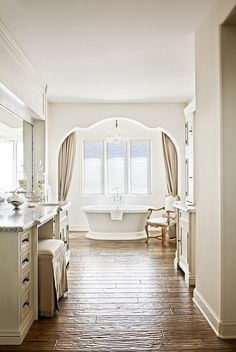 A beautiful French inspired home by Palm Design Group. Beautiful wood flooring throughout, an enormous butler's pantry,and love the soothing neutralpalette ... plus the cheeky splash of pink in the last bedroom. x debravia homebunch