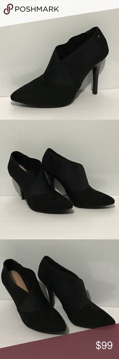 """Simply Vera Vera Wang Black SVAVELYNBLACK Booties Simply Vera Vera Wang SVAVELYNBLACK Black Faux Suede Ankle Booties. Has Elastic Panel for Foot Comfort as well as Sliding Foot in and out comfortably. Excellent Condition Size 8 Med Measurements: 4"""" Heel Simply Vera Vera Wang Shoes Ankle Boots & Booties"""