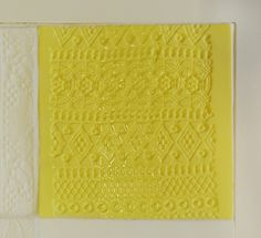 Yellow tex-tile with relief #tiles #transparant #white #translucent #porcelain #15x15 #bathroom #textiles #wall #decoration #led #imprint #relief #barbaravos #wallcovering #kitchen #shower #home #interior #design #glaze #backsplash #flower #pattern #coral #fabric