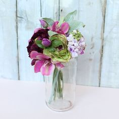 """Faux Ranunculus Mixed Bouquet in Plum Green<br>9"""" Tall"""