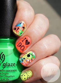 Neon 90s themed nails #90s #nailart #neon #tiedye